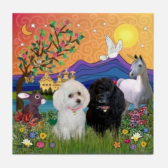 Fantasy Land & 2 Poodles Tile Coaster