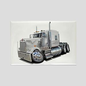 Kenworth W900 White Truck Rectangle Magnet