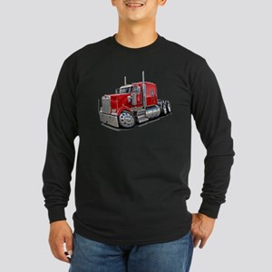 Kenworth W900 Red Truck Long Sleeve Dark T-Shirt