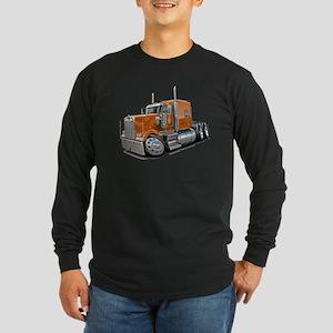 Kenworth W900 Orange Truck Long Sleeve Dark T-Shir