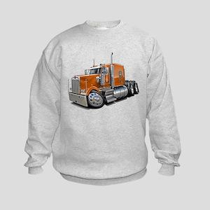 Kenworth W900 Orange Truck Kids Sweatshirt