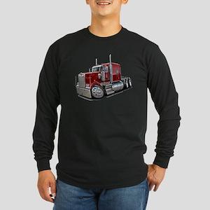 Kenworth W900 Maroon Truck Long Sleeve Dark T-Shir