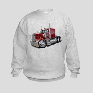 Kenworth W900 Maroon Truck Kids Sweatshirt