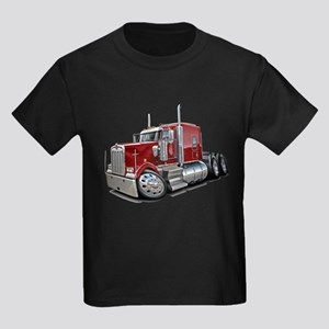 Kenworth W900 Maroon Truck Kids Dark T-Shirt
