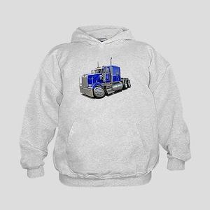 Kenworth W900 Blue Truck Kids Hoodie
