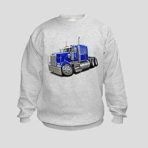 Kenworth W900 Blue Truck Kids Sweatshirt