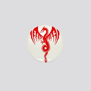 Red Tribal Dragon Mini Button