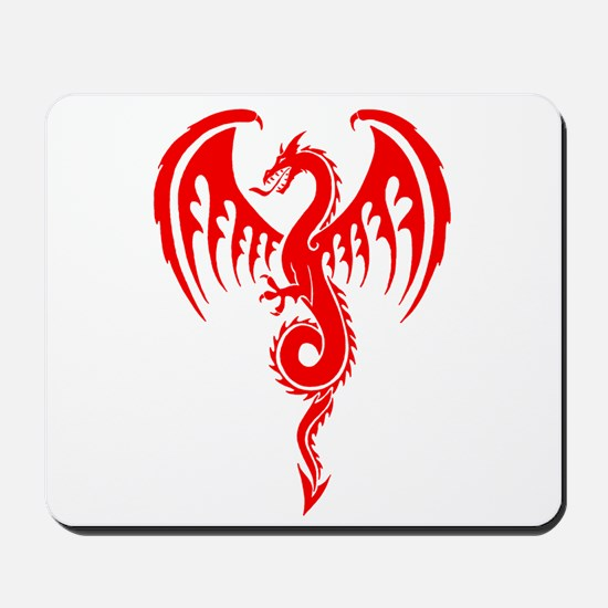 Red Tribal Dragon Mousepad