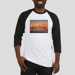 the harbour in naoussa Baseball Jersey