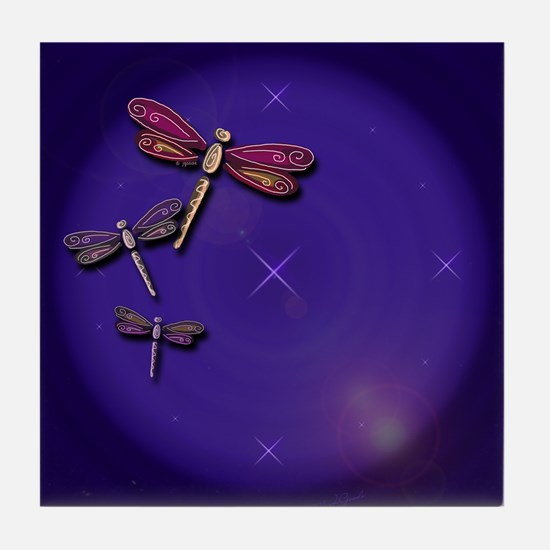 Starry Skies Dragonflies Tile Coaster