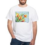 Tulips Watercolor White T-Shirt