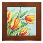 Tulips Watercolor Framed Tile