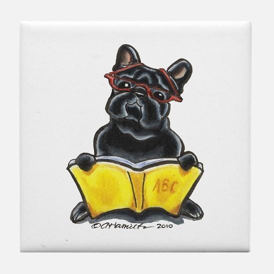 Frenchie Bookworm Tile Coaster