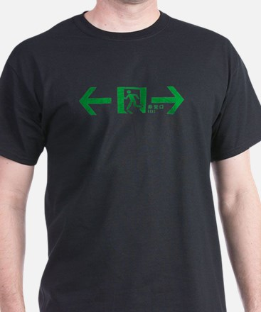 """Japanese exit sign"" Black T-Shirt"