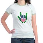 Green/Pink Heart ILY Hand Jr. Ringer T-Shirt
