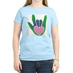 Green/Pink Heart ILY Hand Women's Light T-Shirt