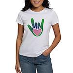 Green/Pink Heart ILY Hand Women's T-Shirt