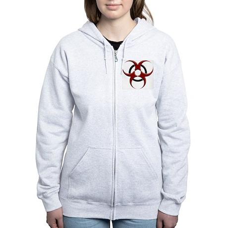 3D Biohazard Symbol Women's Zip Hoodie