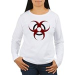 3D Biohazard Symbol Women's Long Sleeve T-Shirt