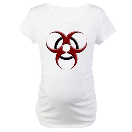 3D Biohazard Symbol Maternity T-Shirt
