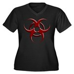 3D Biohazard Symbol Women's Plus Size V-Neck Dark