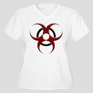 3D Biohazard Symbol Women's Plus Size V-Neck T-Shi