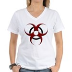 3D Biohazard Symbol Women's V-Neck T-Shirt