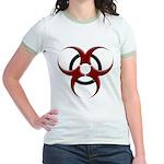 3D Biohazard Symbol Jr. Ringer T-Shirt