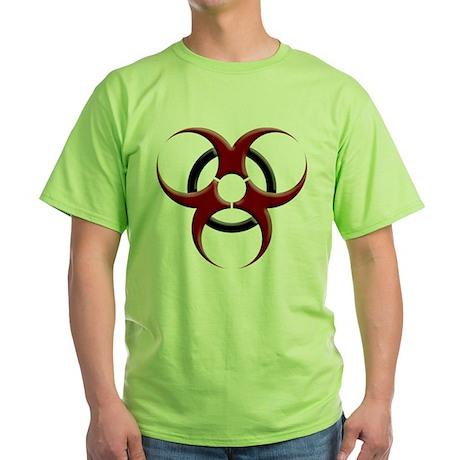 3D Biohazard Symbol Green T-Shirt