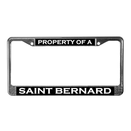 Property of Saint Bernard License Plate Frame