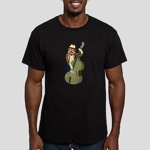 Sock Monkey Upright Bass Men's Fitted D. T-Shirt