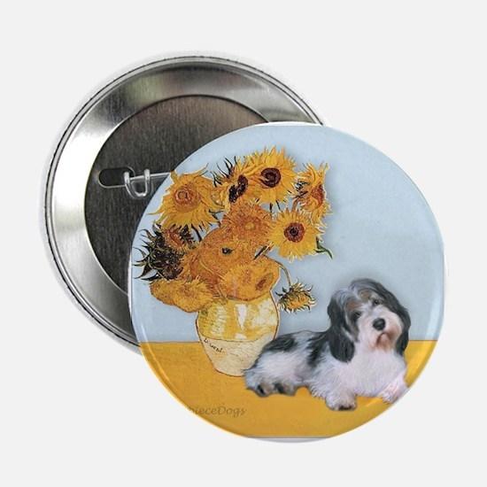 "Sunflowers/ Petit Basset #8 2.25"" Button"