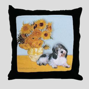 Sunflowers/ Petit Basset #8 Throw Pillow
