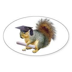 Squirrel Graduation Sticker (Oval)