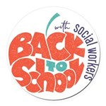 back to school with social workers Round Car Magne