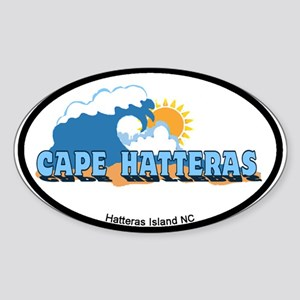 Cape Hatteras NC - Waves Design Sticker (Oval)