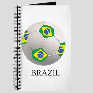 Soccer Ball With Brazil Flags Journal
