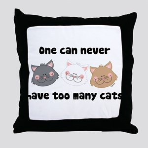 Never Too Many Cats Throw Pillow