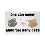 Never Too Many Cats Rectangle Magnet