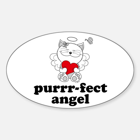 Cat Angel, Perfect Purrr-fect Oval Decal