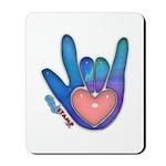 Blue/Pink Glass ILY Hand Mousepad