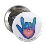 Blue/Pink Glass ILY Hand Button