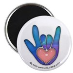 Blue/Pink Glass ILY Hand Magnet
