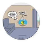 Fishbowl Drone Round Car Magnet