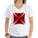 Ace Biker Iron Maltese Cross Women's V-Neck T-Shir