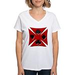 Ace Biker Iron Maltese Cross Women's V-Neck T-Shir