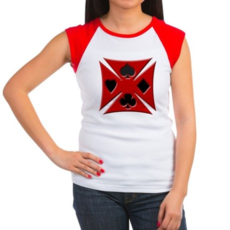 Ace Biker Iron Maltese Cross Women's Cap Sleeve T-