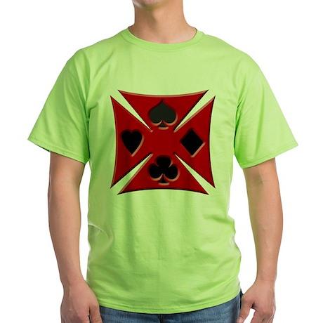Ace Biker Iron Maltese Cross Green T-Shirt