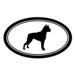 Boxer dog silhouette Oval Sticker