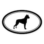 Boxer dog silhouette Oval Sticker